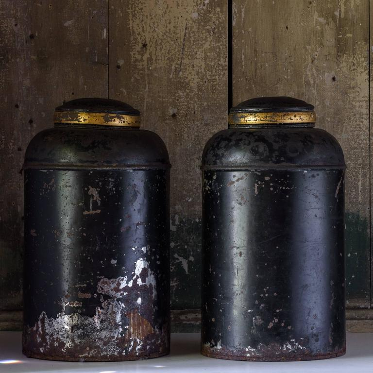 Late19th Century Toleware Tea Canisters For Sale 1