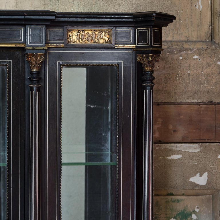 Mid-19th Century 19th Century French Ebonized Side Cabinet For Sale