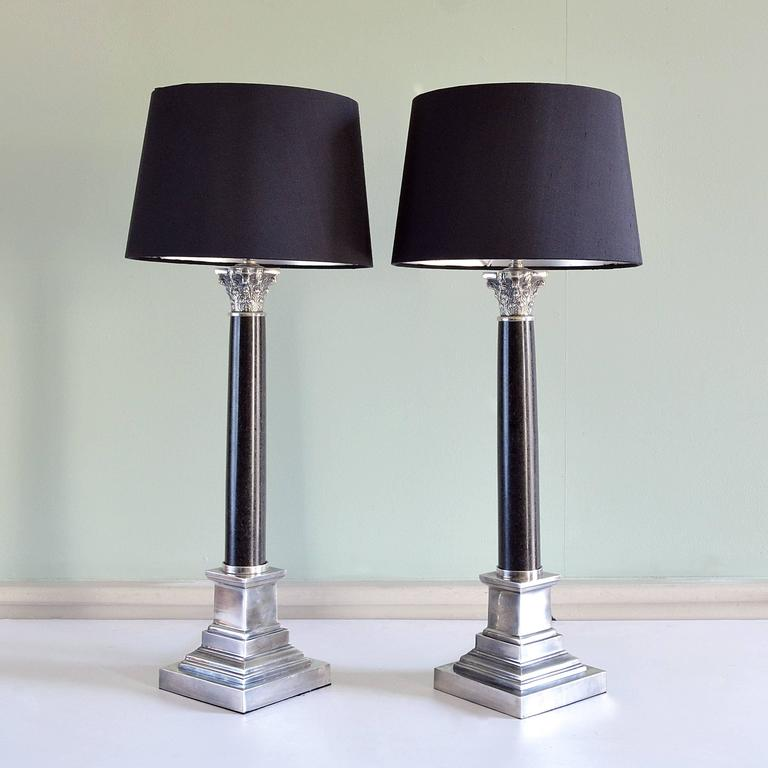 this pair of corinthian column table lamps is no longer available. Black Bedroom Furniture Sets. Home Design Ideas