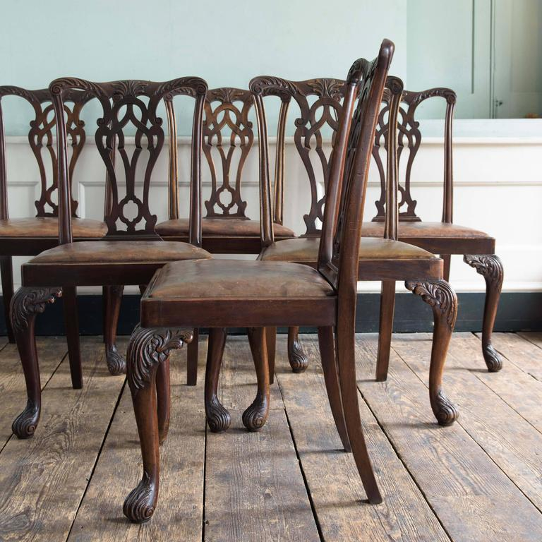 Set of six George III style mahogany dining chairs, early 20th century, the leaf carved top rails above fret carved splats on leaf and foliate carved cabriole legs with drop in leather seats.