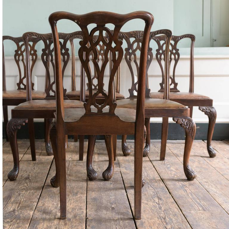 Early 20th Century Set of Six George III Style Chairs For Sale