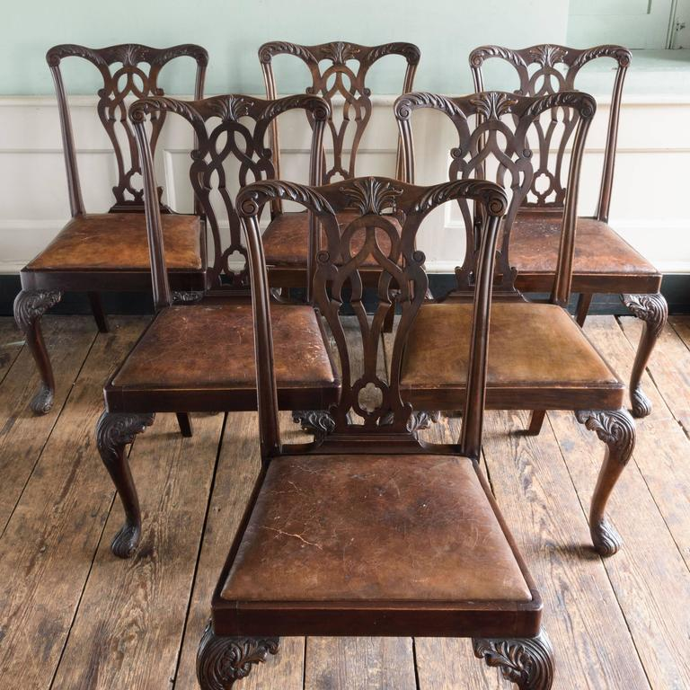 Mahogany Set of Six George III Style Chairs For Sale