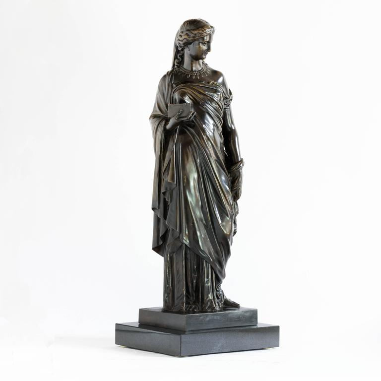 French mid-19th century bronze of Pandora, by Eugene Aizelin, circa 1865 and cast by the Barbedienne foundry, set on plinth base.