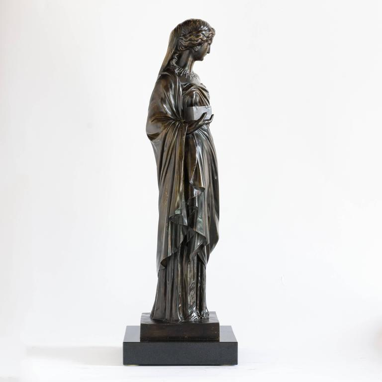 Mid-19th Century French Bronze of Pandora, Barbedienne Foundry For Sale