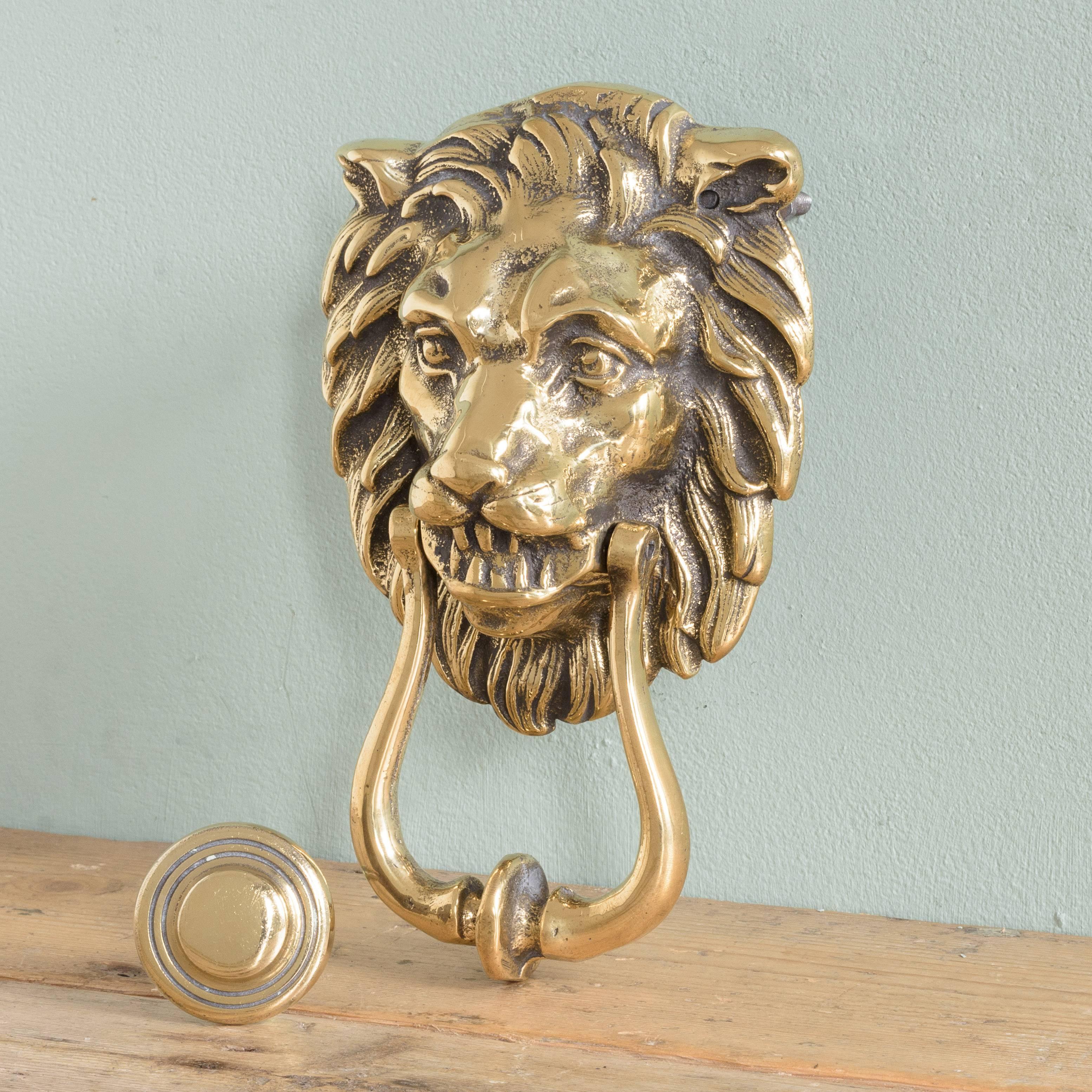 British Brass Lion Door Knocker For Sale