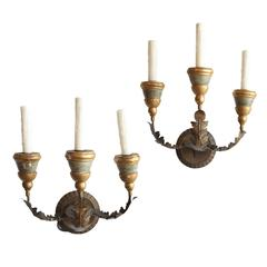 Pair of 19th Century Three-Arm Italian Sconces