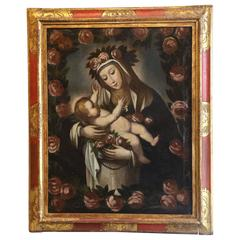 Late 18th Century Cuzco School Oil on Canvas of the Virgin with Child