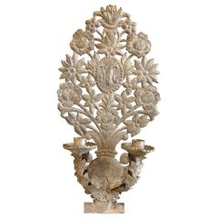 Early 19th Century French Two-Arm Tôle Silver Gilt Sconce