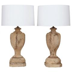 Large Pair of Vintage Carved Wooden Finial Lamps