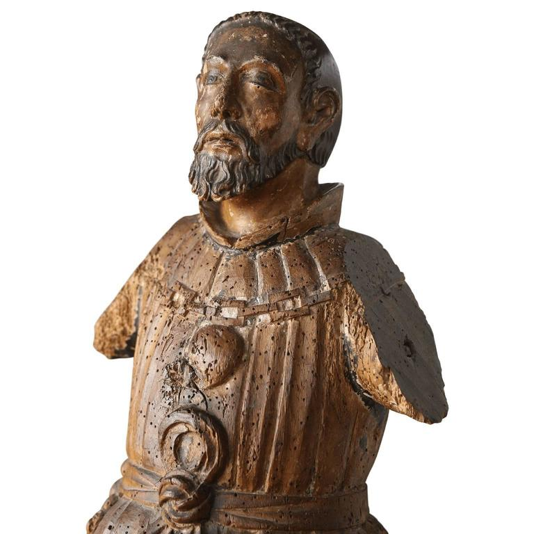 Carved figure of Franciscan abbot or saint, circa 1780-1800.