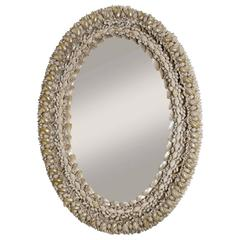 Shell-Covered Oval Mirror