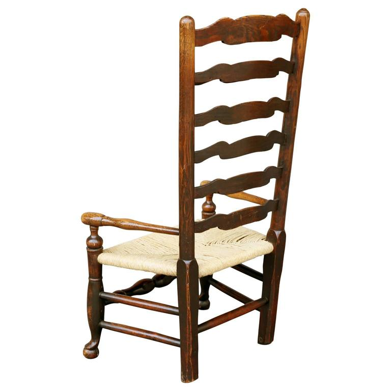 Rush Georgian Ladder Back Country Armchair For Sale