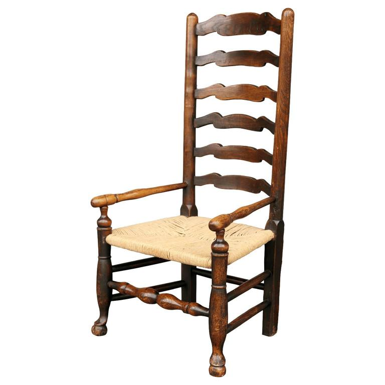Georgian Ladder Back Country Armchair In Excellent Condition For Sale In Houston, TX