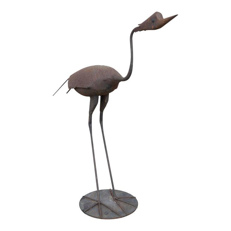 American Steel Heron Folk Art Sculpture For Sale