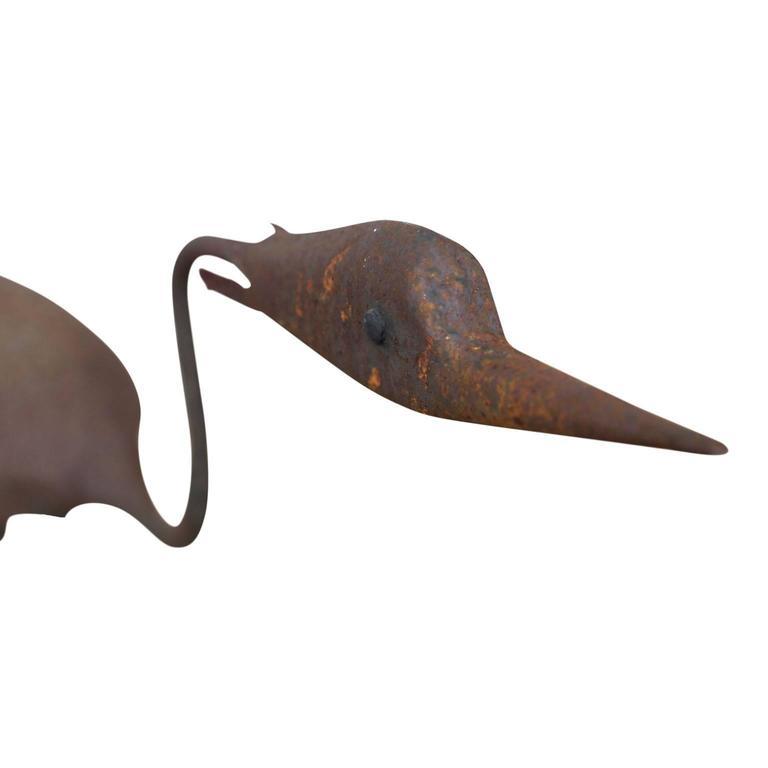 Hand-Crafted Steel Heron Folk Art Sculpture For Sale