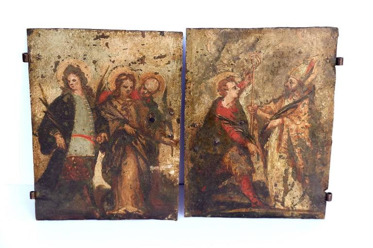 Pair of Early Oil on Copper Paintings In Good Condition For Sale In Houston, TX