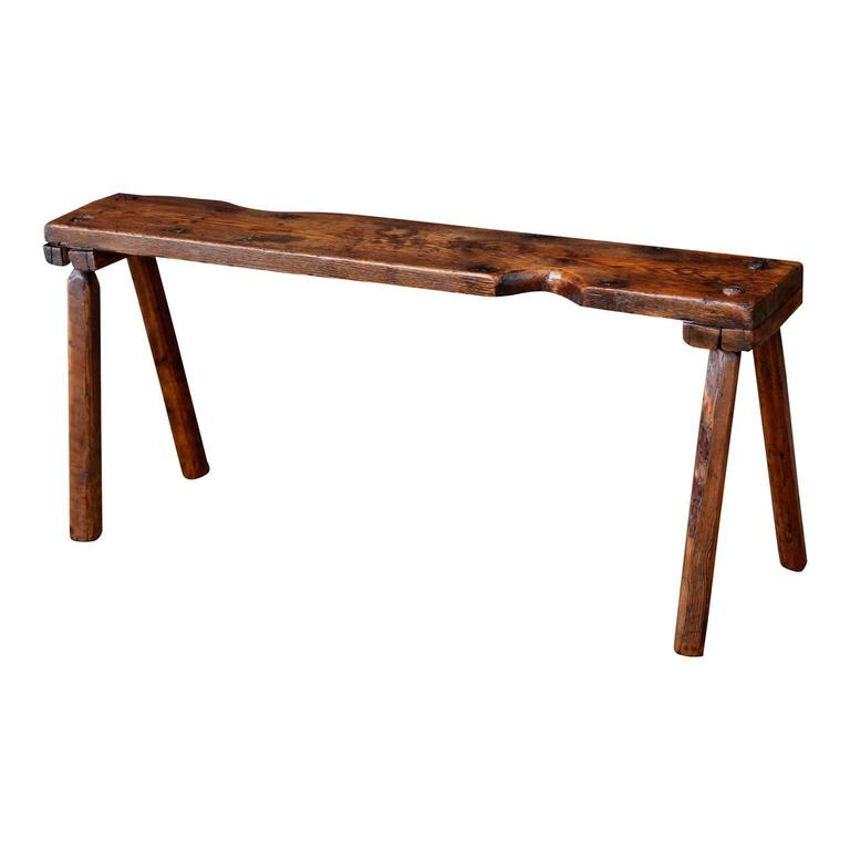 Primitive English Oak Bench In Good Condition For Sale In Houston, TX