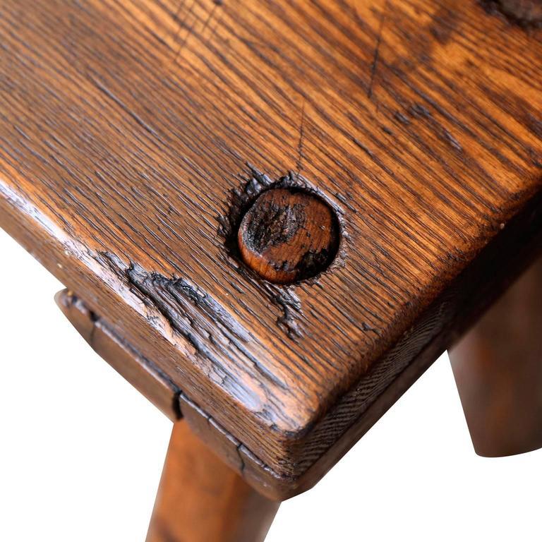 Hand-Carved Primitive English Oak Bench For Sale