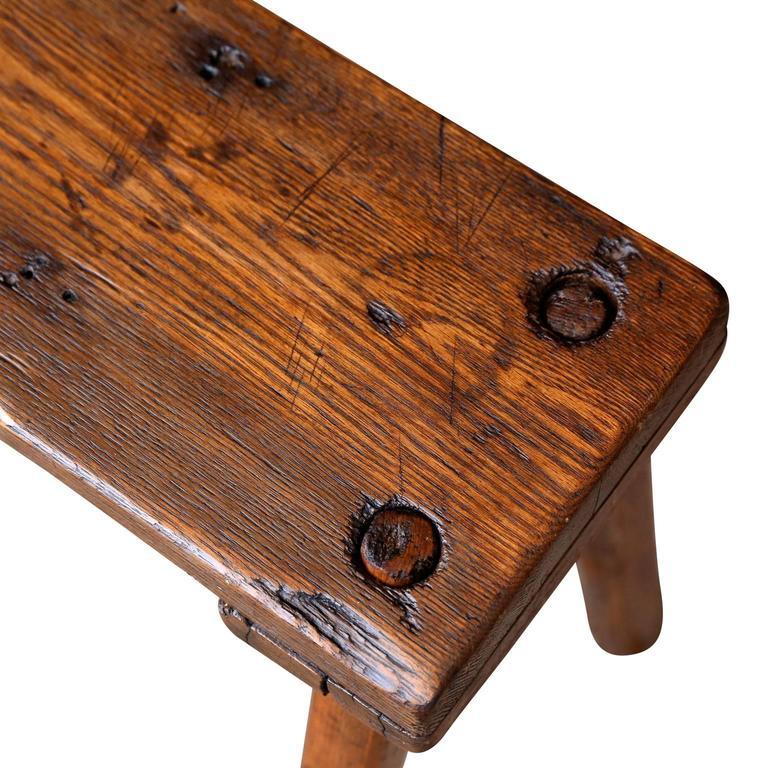 Primitive English Oak Bench For Sale 1