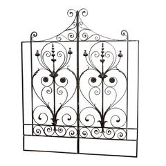 Pair of 19th Century French Forged Iron Gates, later adapted as a Headboard