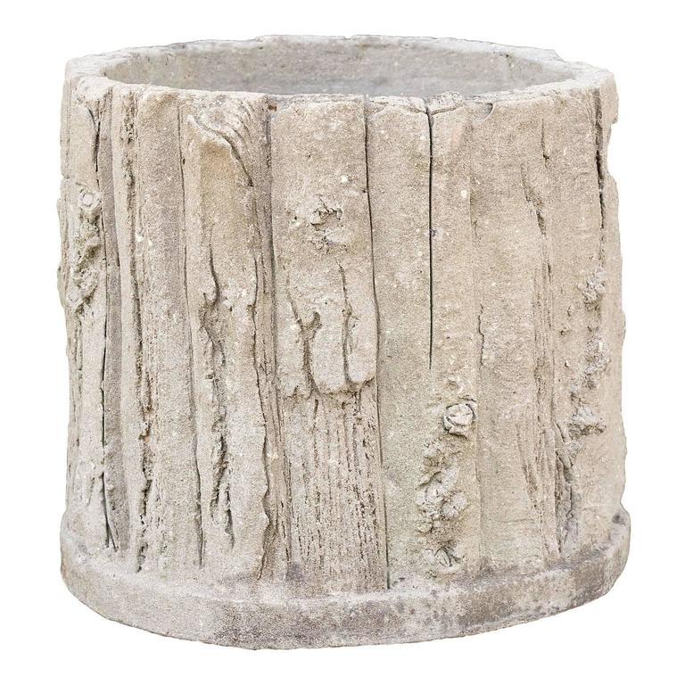 Vintage french concrete faux bois round planter for sale for Faux bois painting technique