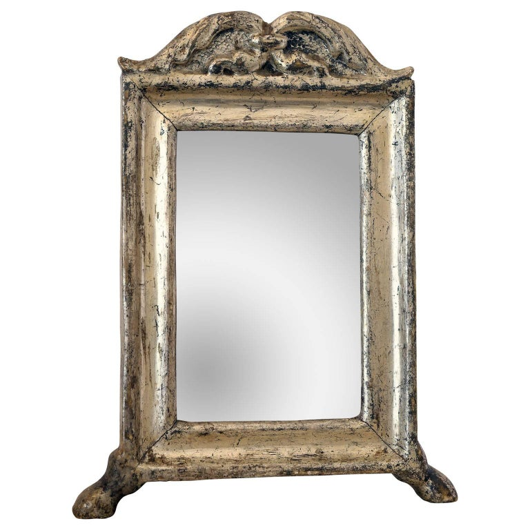 Small silver leaf mirror for sale at 1stdibs for Small silver mirror