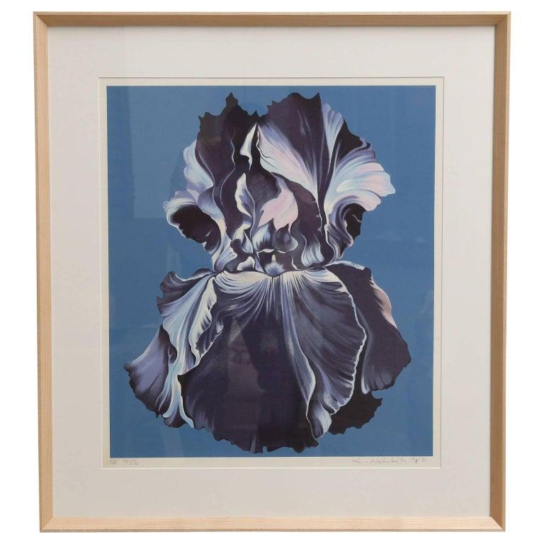"""Framed Serigraph """"Blue Iris on Blue"""" by Lowell Nesbitt"""