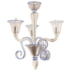 Three-Arm Clear Glass Murano Chandelier