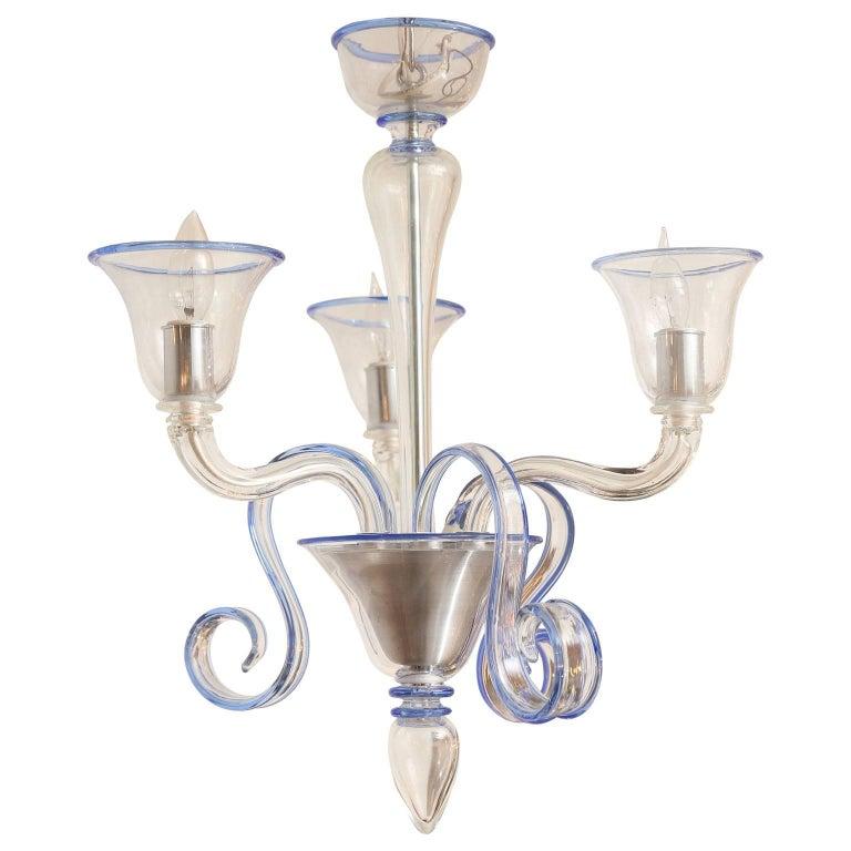 Three-Arm Clear Glass Murano Chandelier