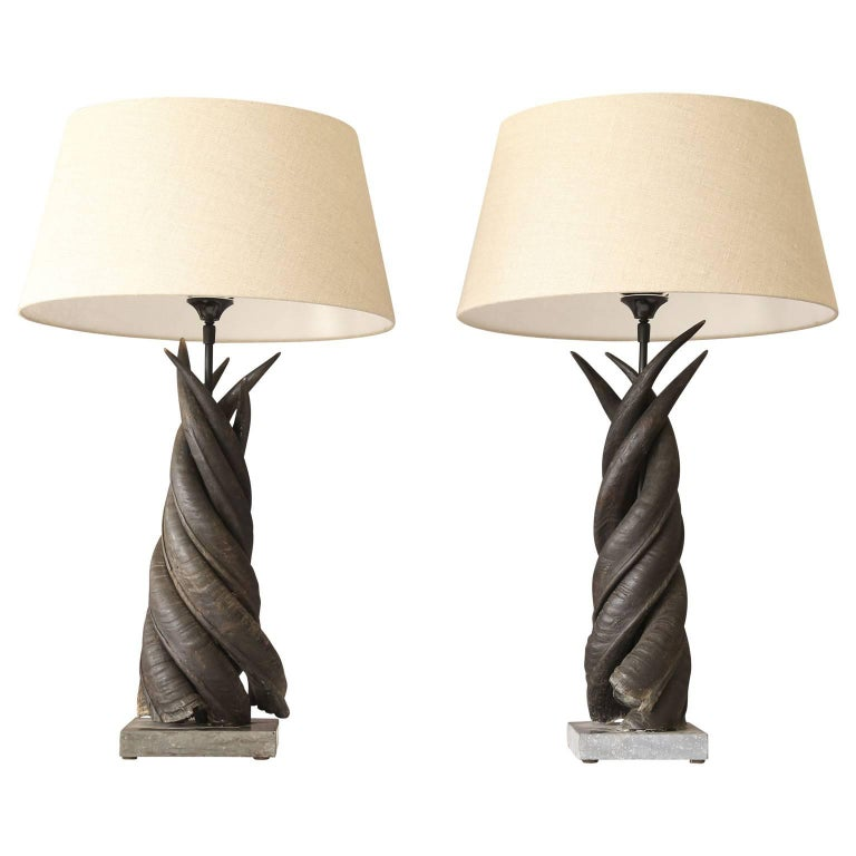 Pair of Spiraled Horn Table Lamps