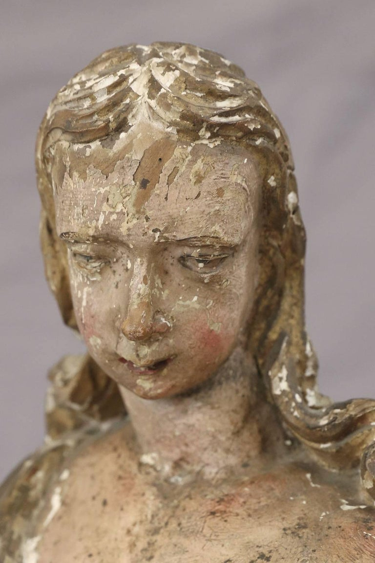 Baroque Early Hand Carved Italian Statue For Sale