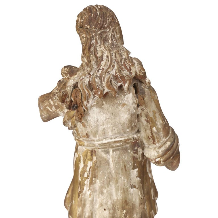 Early Hand Carved Italian Statue In Good Condition For Sale In Houston, TX