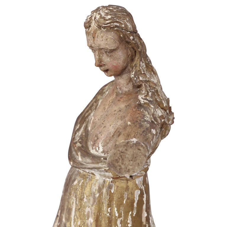 18th Century Early Hand Carved Italian Statue For Sale