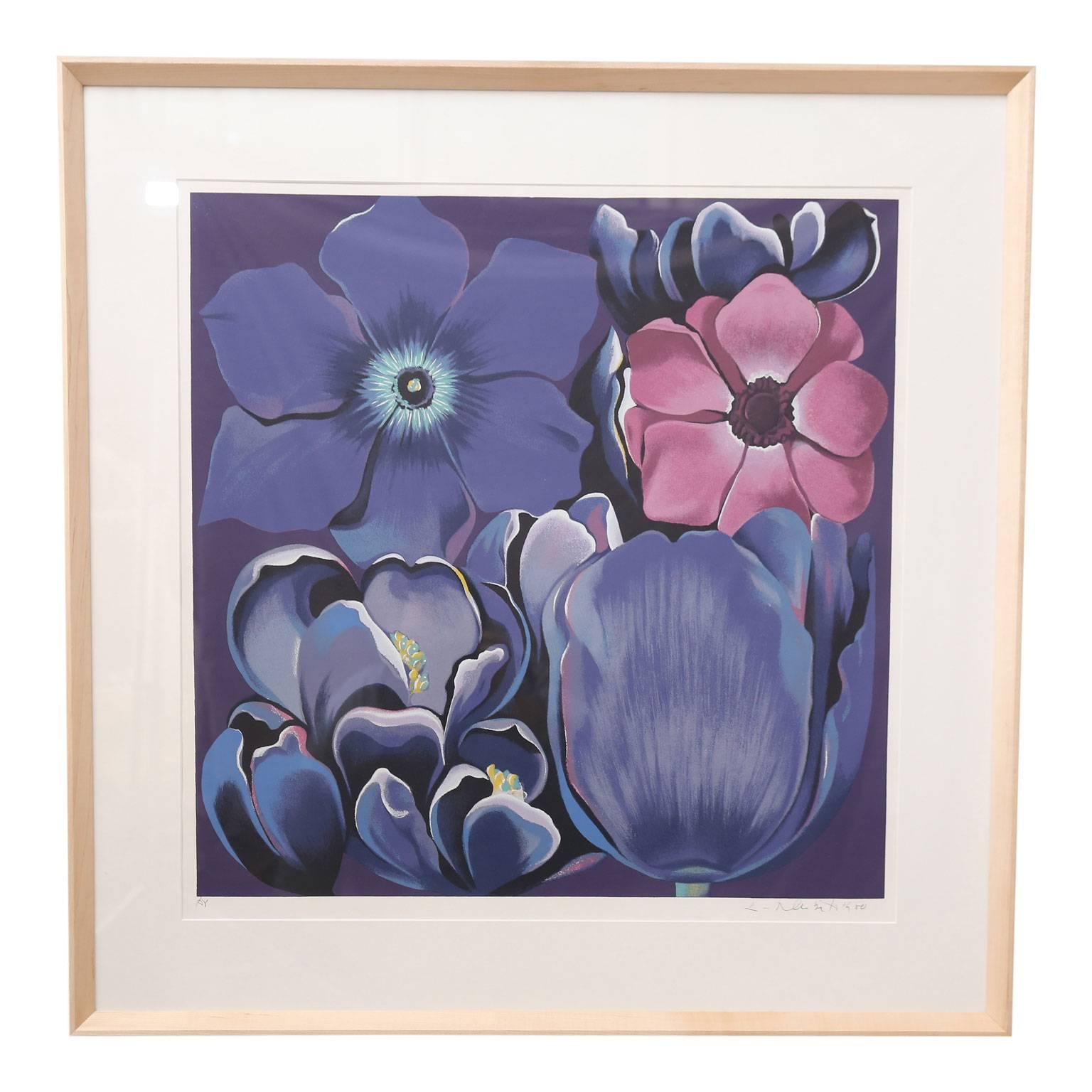Framed Signed And Numbered Serigraph U0026quot;Violet Monochromeu0026quot; By Lowell  Nesbitt
