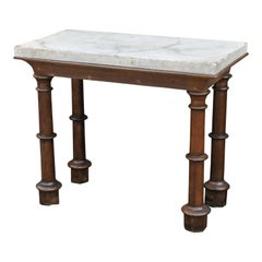 Faux Marble-Top Console