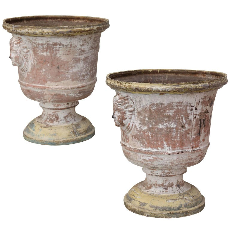 Pair of 19th Century Cast Iron Urns
