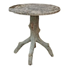 Vintage French Faux Bois Side Table