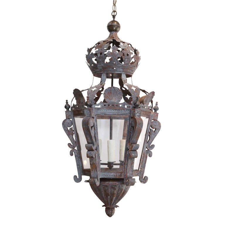 19th Century Painted French Pierced Tôle Lantern