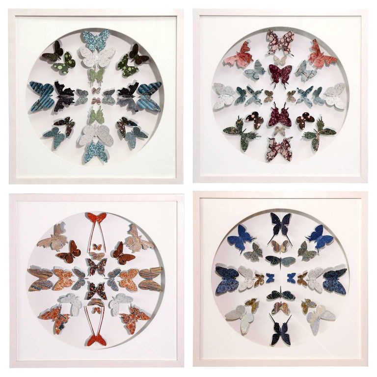 Antique Marbled End Paper Butterflies For Sale