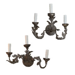 Pair of Tole and Iron Sconces