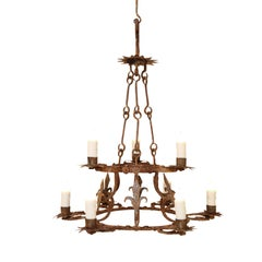 Forged Iron Two-Tier Chandelier