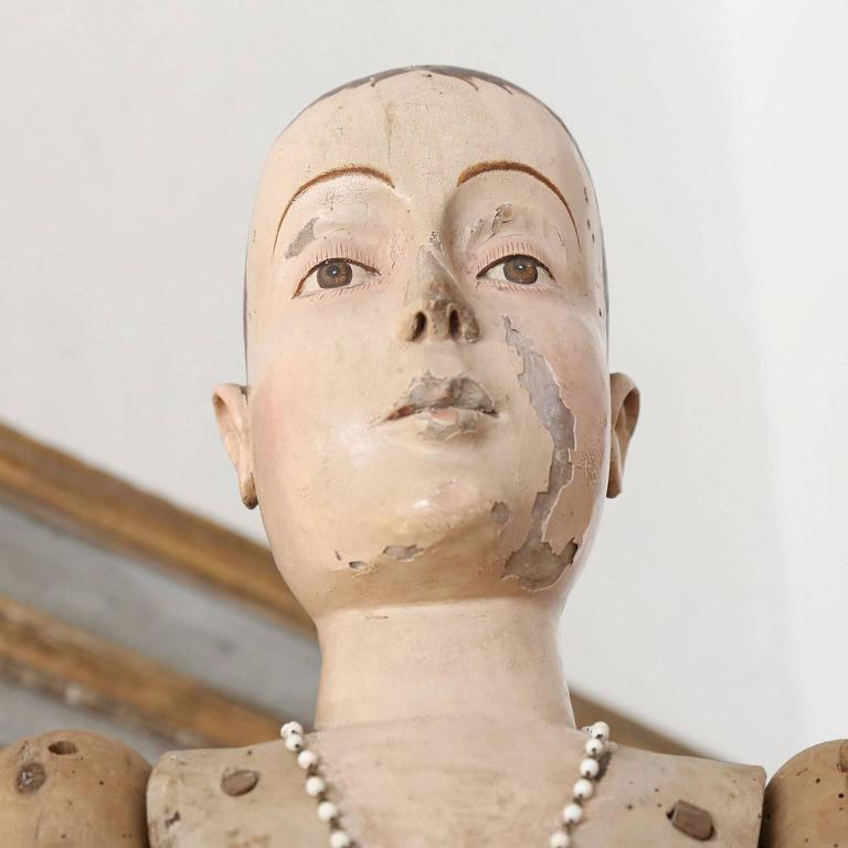 Folk Art Large Scale Wooden French Statue For Sale
