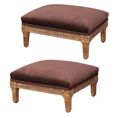 Two Italian Giltwood Footstools