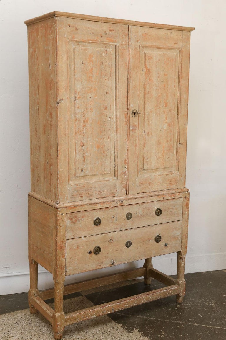 Early 19th Century Swedish Pine Tall Cabinet For Sale