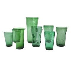Italian Green Glass Vase Collection