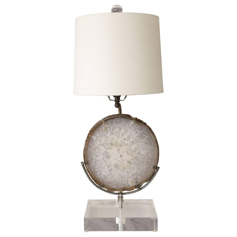 Agate Lamp on Lucite