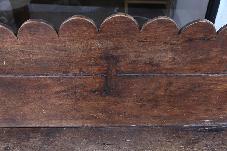 Carved Early 18th Century Italian Chestnut Bench For Sale