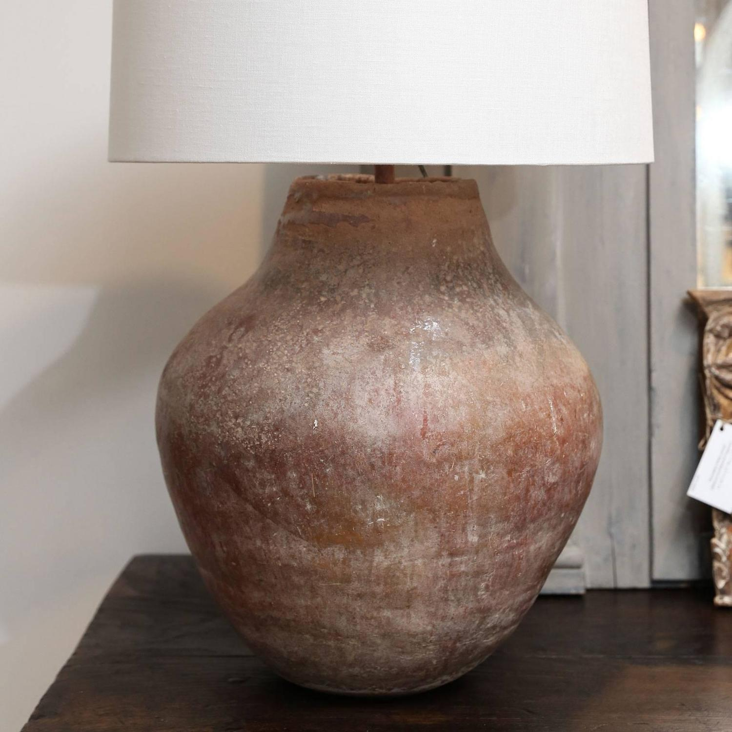 Large 19th Century Terracotta Urn as Custom Table Lamp at