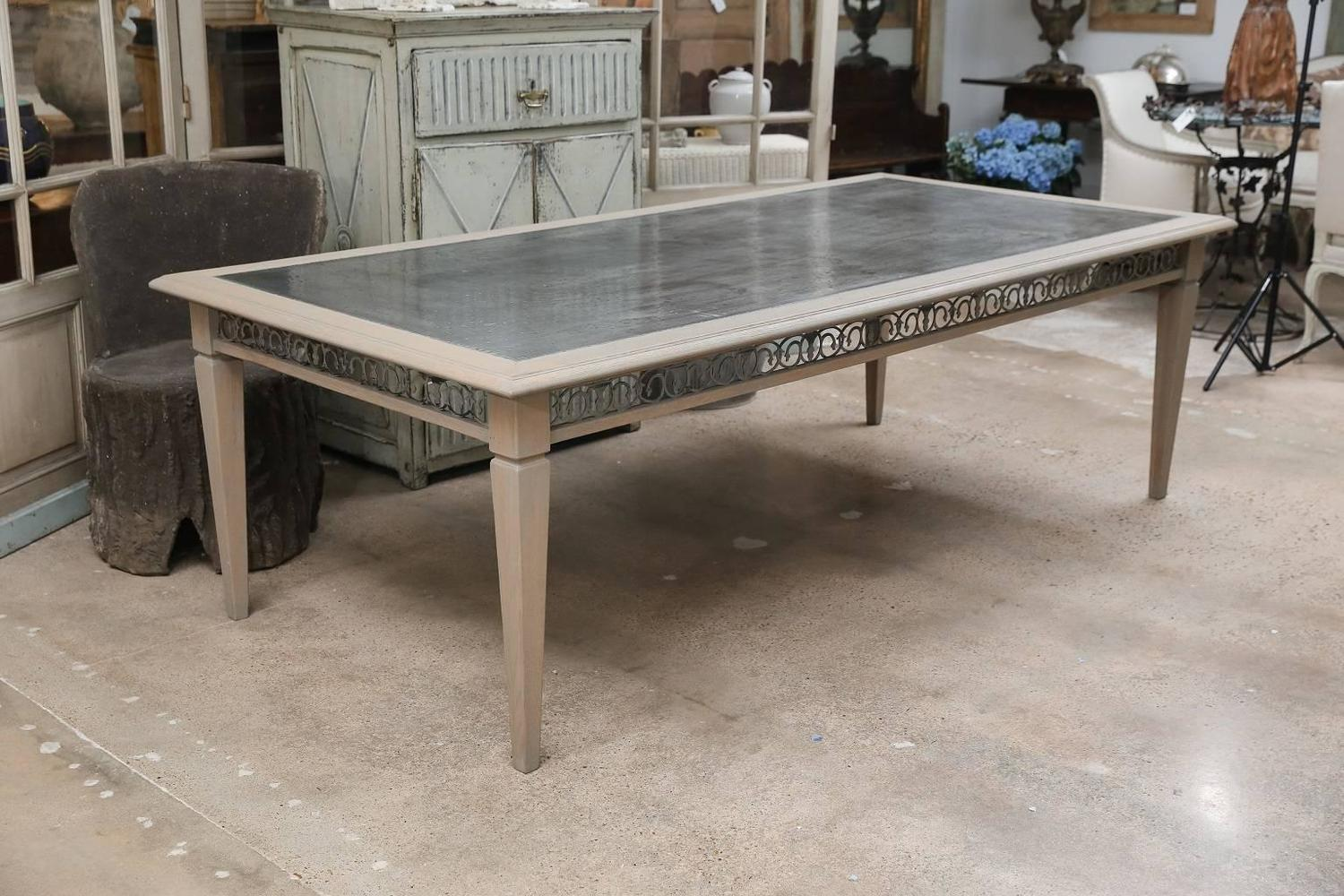 Zinc Top Carved Oak Dining Table For Sale at 1stdibs : 6322g1stdibsz from www.1stdibs.com size 1500 x 1000 jpeg 188kB
