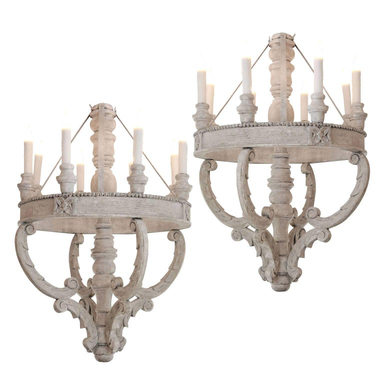 Large Painted Wooden Chandeliers